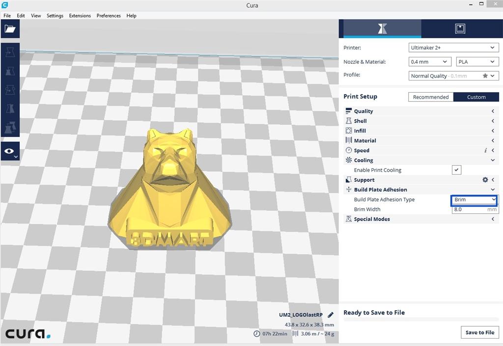 Ultimaker 3D列印 Cura切片軟體 brim1