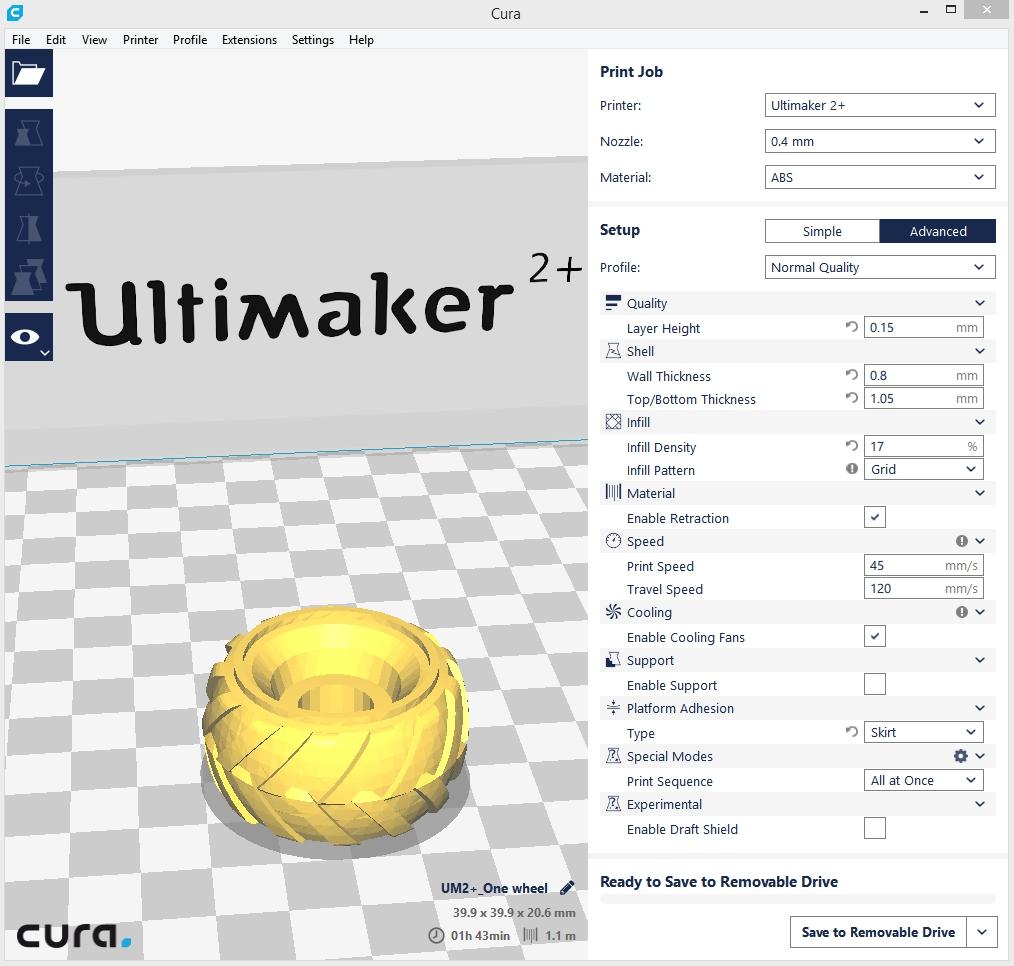 3DMART Ultimaker 2+ 3D列印機 Ninjatek Cheetah  輪胎 列印參數