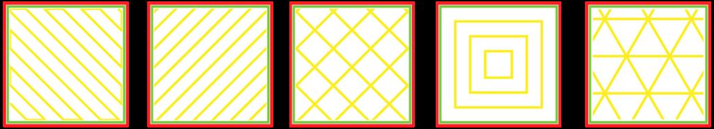 3D列印 填充圖樣 三角形 線型 網格 同心圓 Z字型