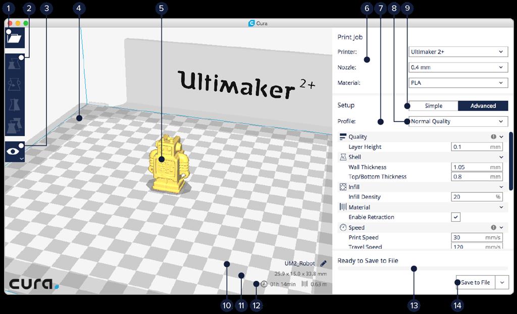 Ultimaker  Ultimaker 2+ Cura 2.1操作介面