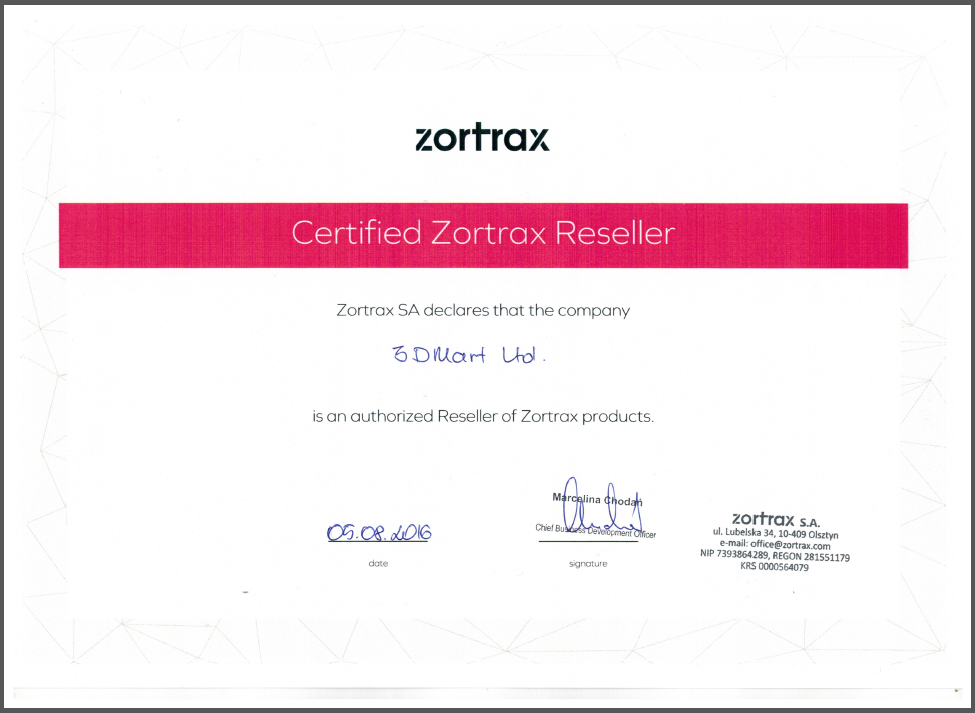 zotrax  officail certification
