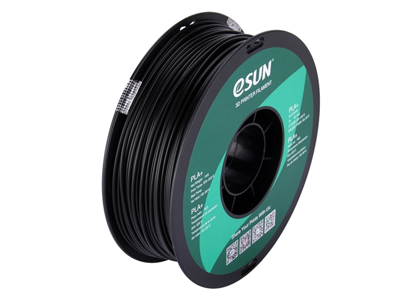 ESUN (易生) PLA+ 3D列印材料 - Black(黑色) - Box and Spool