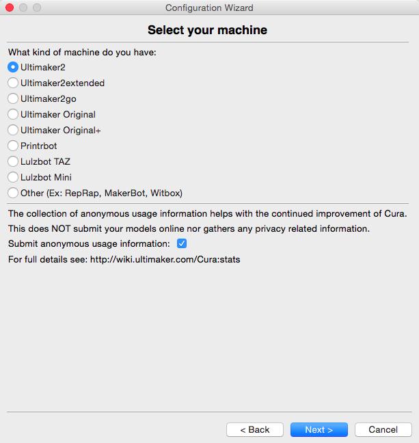 Ultimaker 2 3D印表機 cura15.04 切片軟體 選擇機器