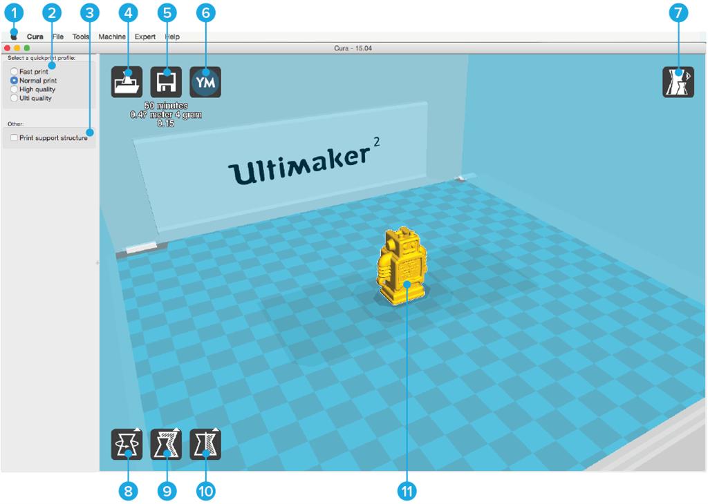 Ultimaker 2 3D印表機 cura15.04 切片軟體 介面說明