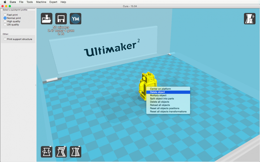 Ultimaker 2 3D印表機 cura15.04 切片軟體 開啟物件