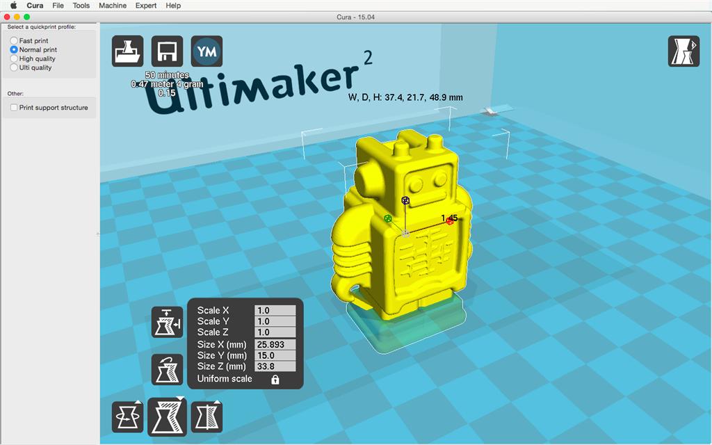 Ultimaker 2 3D印表機 cura15.04 切片軟體 尺寸