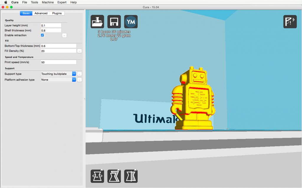 Ultimaker 2 3D印表機 cura15.04 切片軟體 overhang 懸空