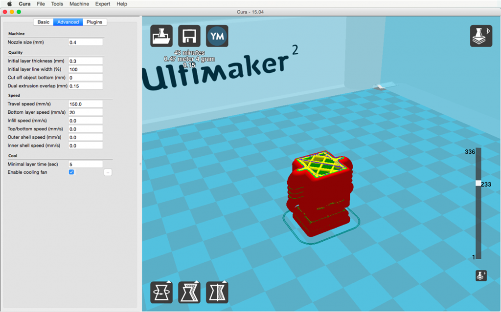 Ultimaker 2 3D印表機 cura15.04 切片軟體 切聘模式 分層模式 layers
