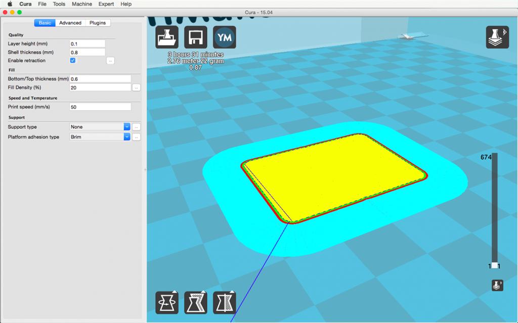 Ultimaker 2 3D印表機 cura15.04 切片軟體 brim raft