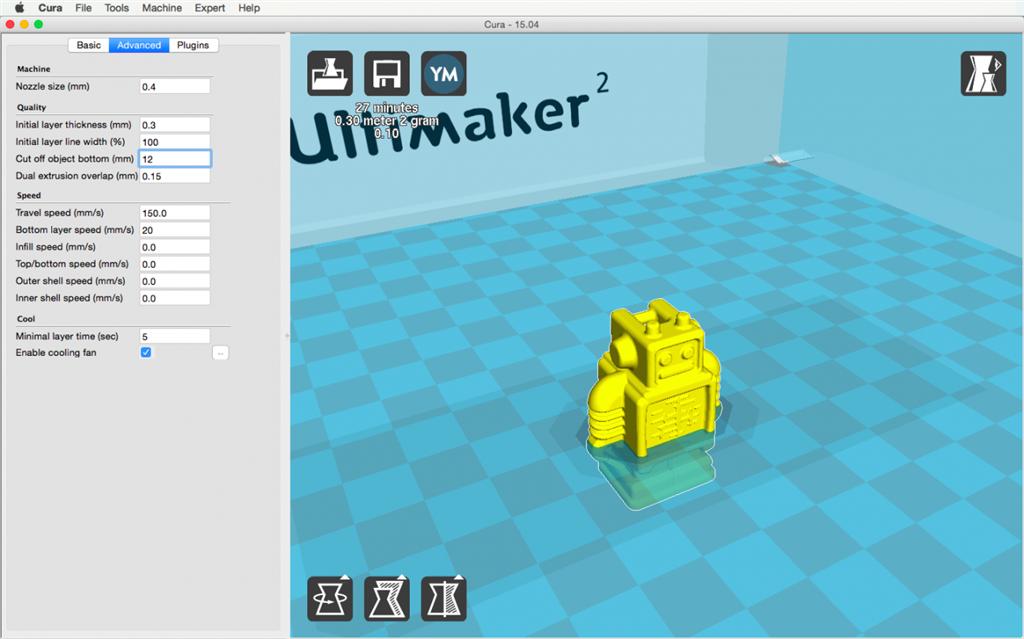 Ultimaker 2 3D印表機 cura15.04 切片軟體 quality 品質
