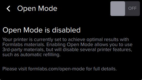 Form2 SLA 3D列印機 開放模式 open mode 關閉