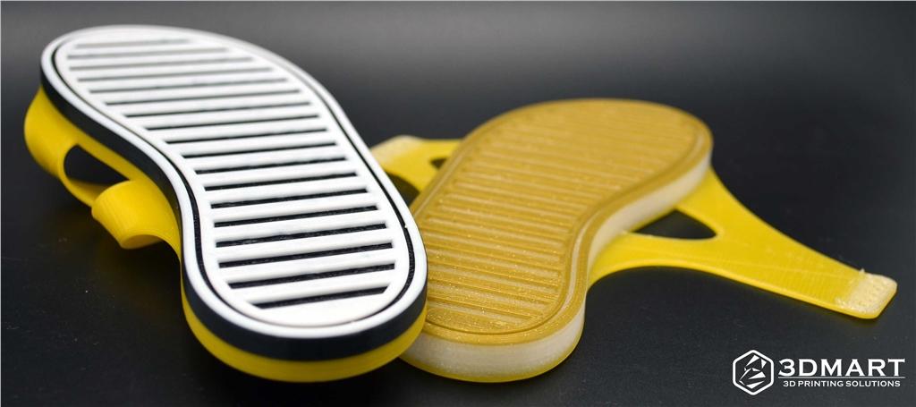 Lulzbot 3D列印機, NinjaFlex, 3D列印彈性線材, 拖鞋底部