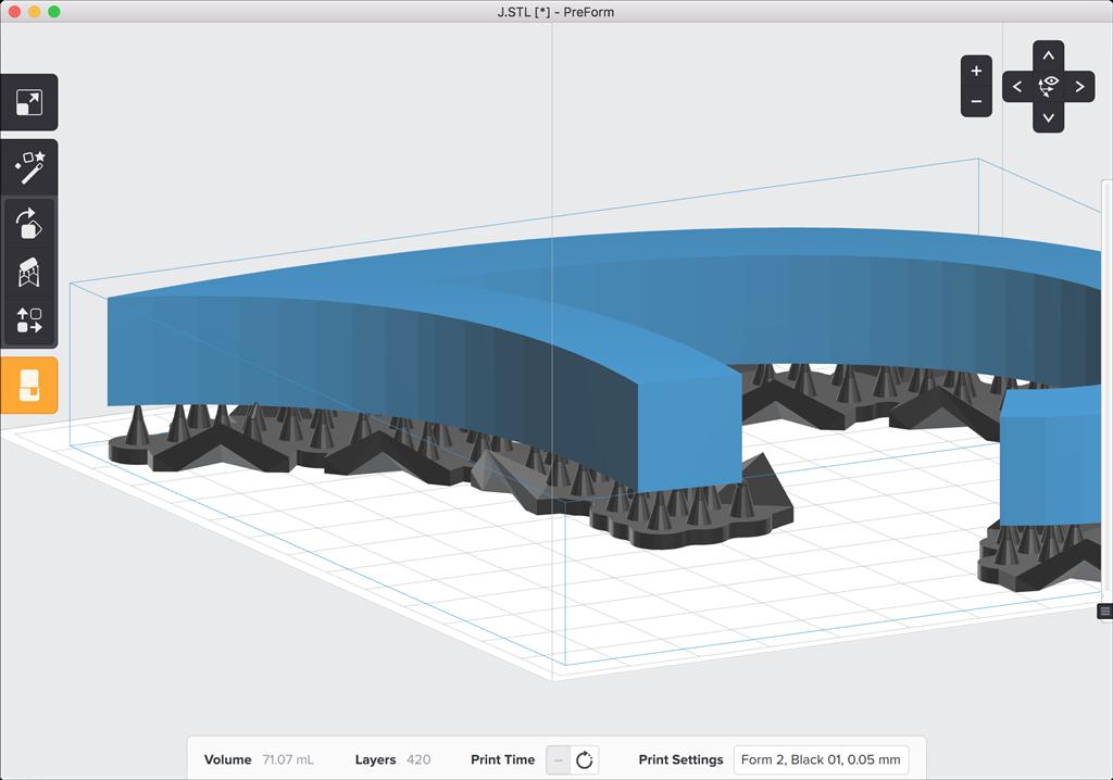 formlabs form2 preform切片軟體教學 旋轉物件 傾角小