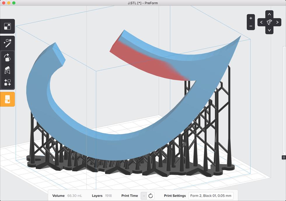formlabs form2 preform切片軟體教學 支撐結構  紅色陰影區塊
