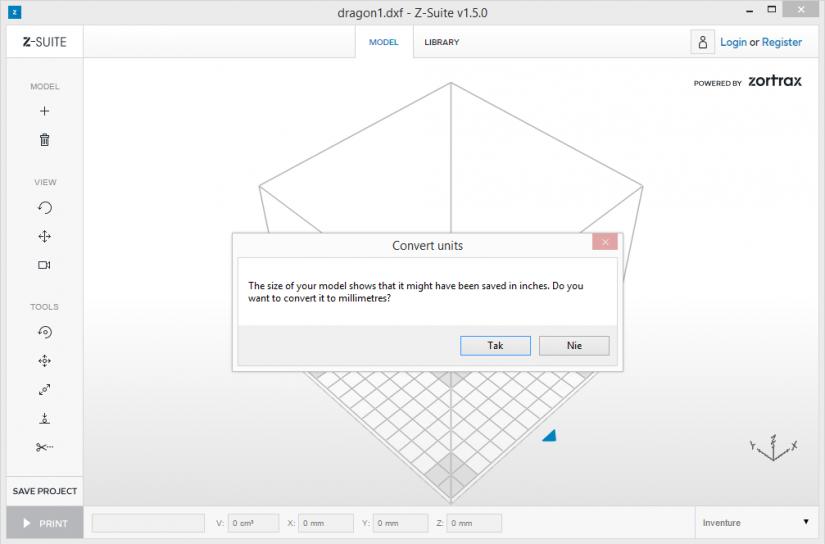 Zortrax M200  Z-Suite操作指南 載入.DFX格式 單位轉換