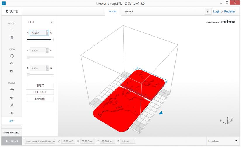 Zortrax M200  Z-Suite操作指南 分割物件 split